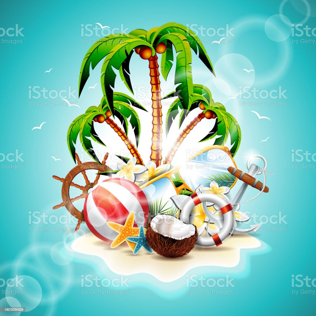 illustration on a summer holiday theme with paradise island vector art illustration