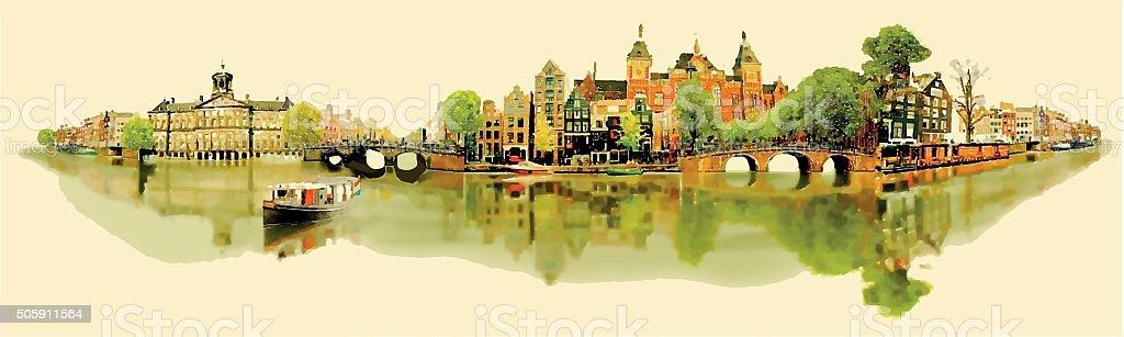 illustration panoramic amsterdam view.. vector art illustration