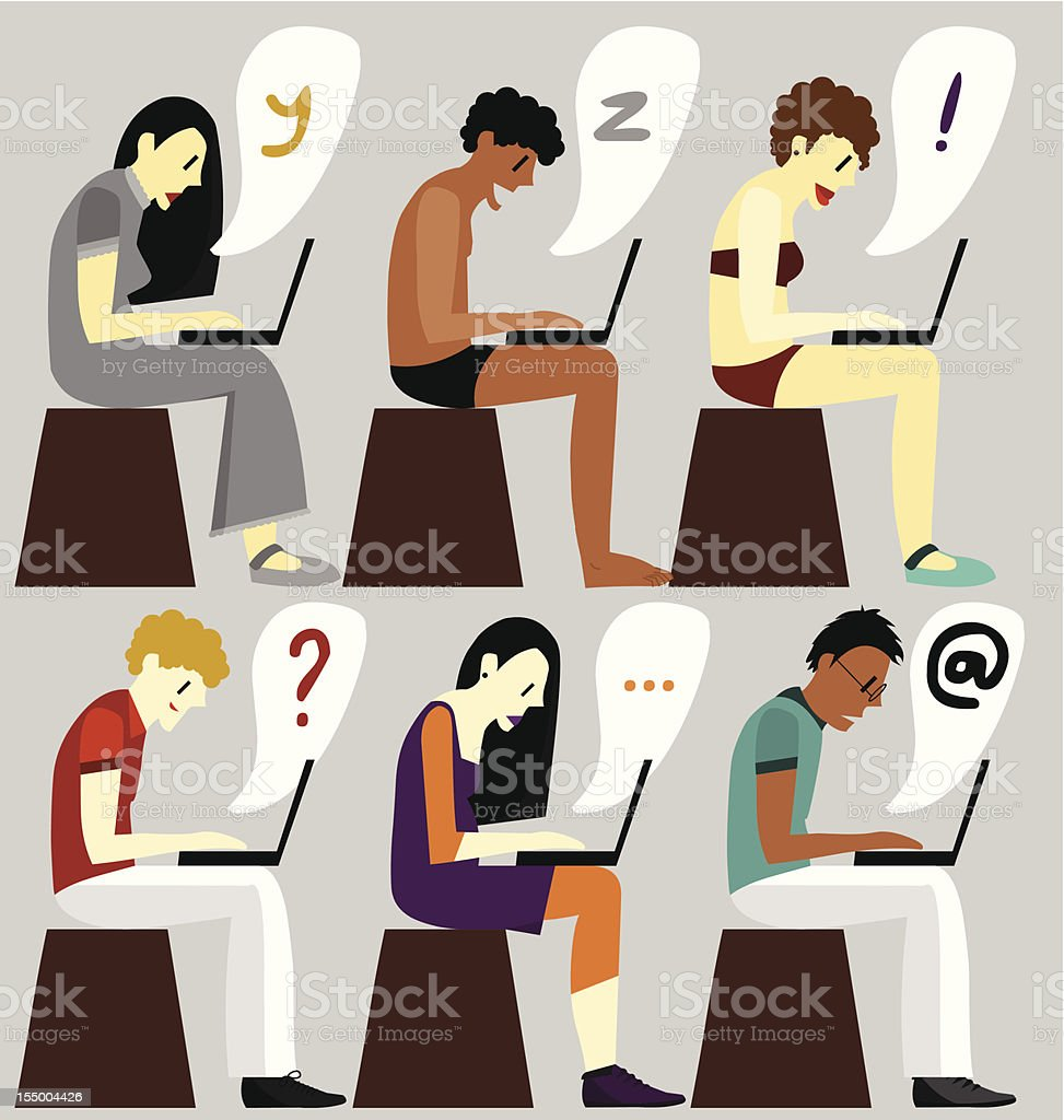 Illustration People with Laptop Alphabet royalty-free stock vector art