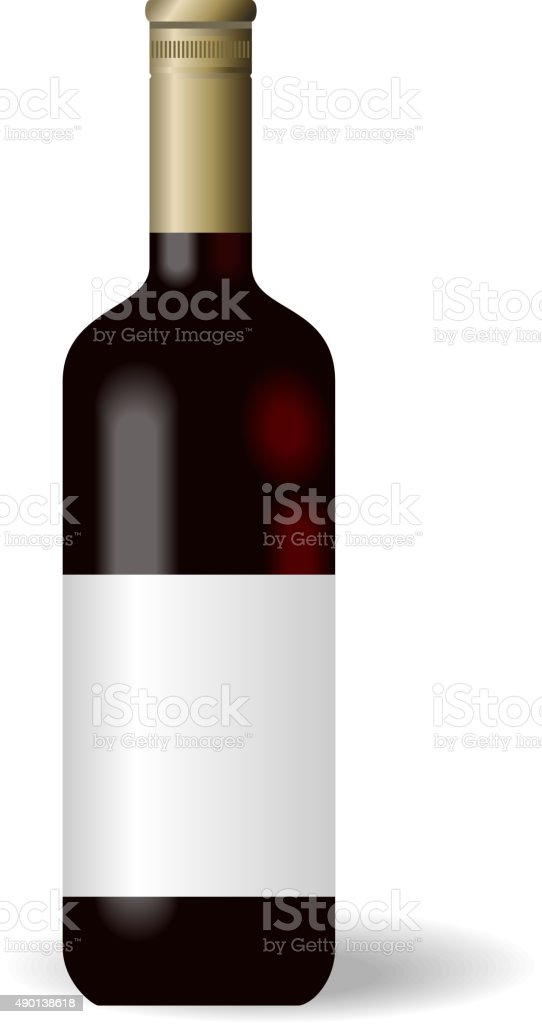 Illustration red wine bottle with label vector art illustration
