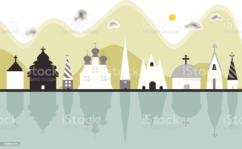 Illustration Religious City View royalty-free stock vector art