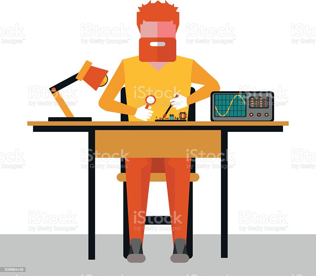 illustration  repair of electronics vector art illustration