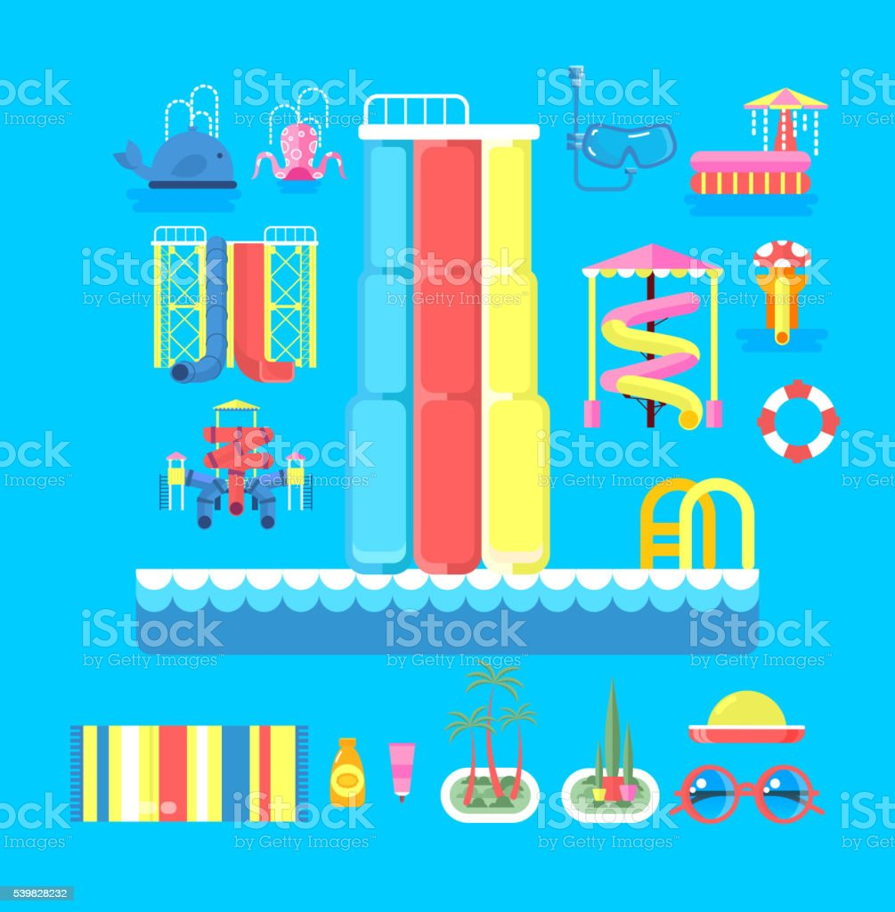 illustration set elements water park vector art illustration
