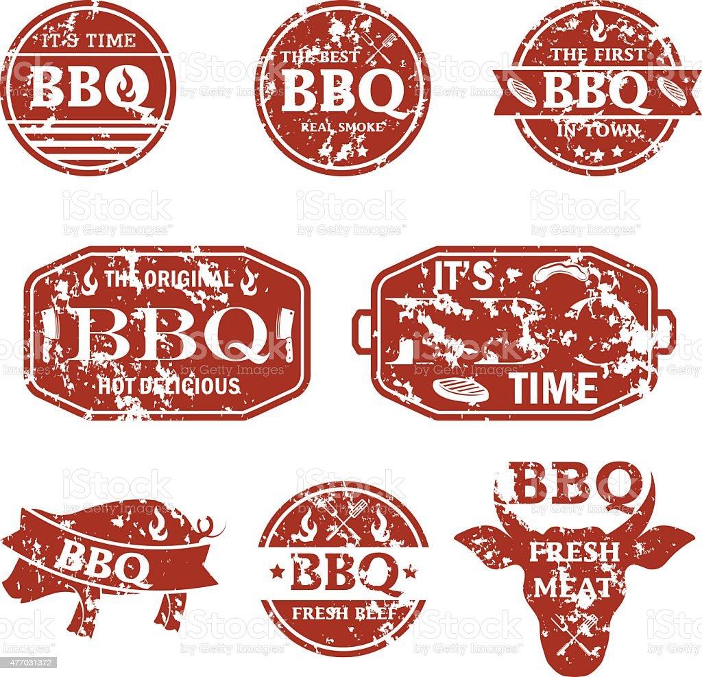Illustration set of bbq labels. Vector vector art illustration