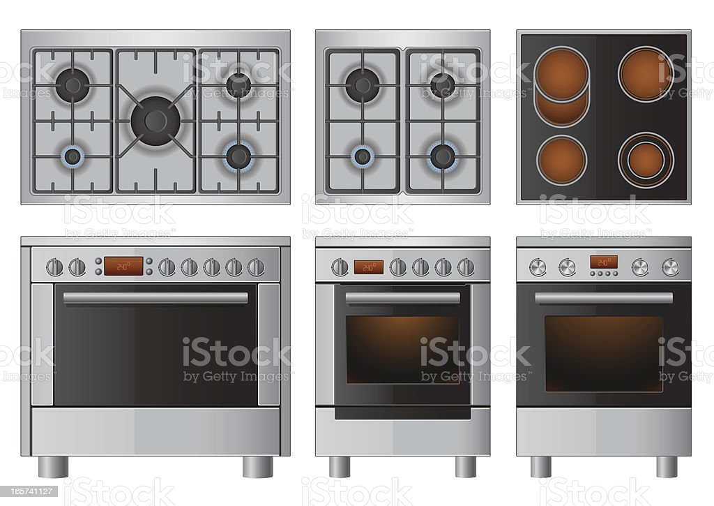 Illustration set of household appliances vector art illustration