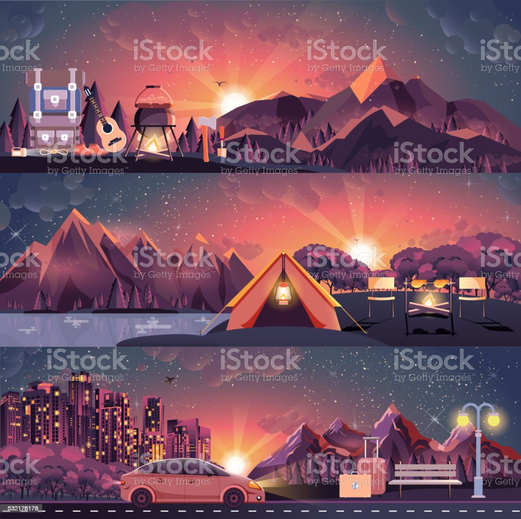illustration set of night landscape, mountains, sunset, travel, hiking, nature vector art illustration