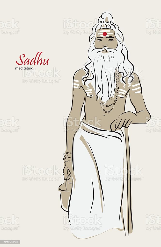 Illustration, Shiva's sadhu, yoga vector art illustration