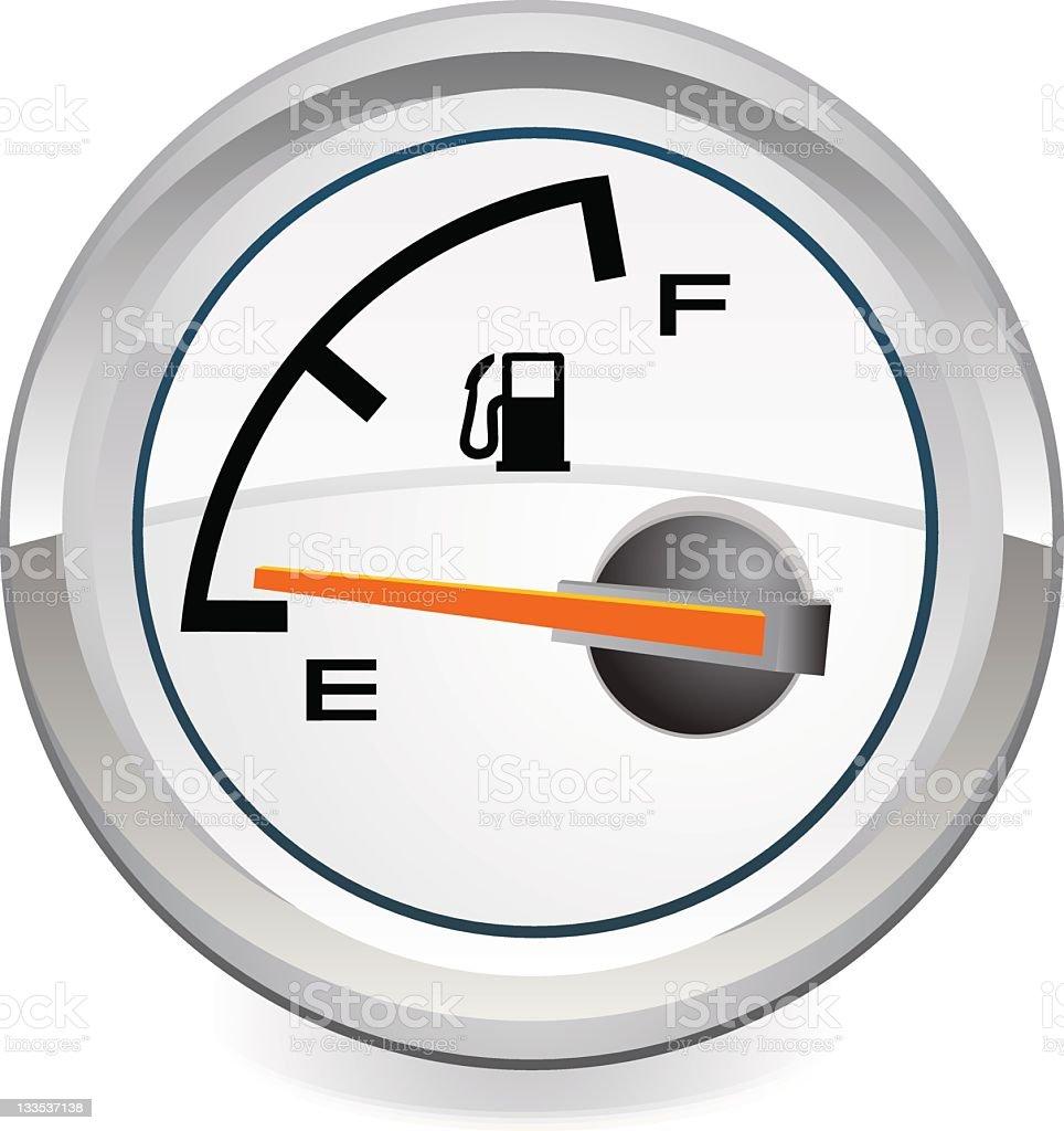 Illustration showing a gas tank meter on empty vector art illustration