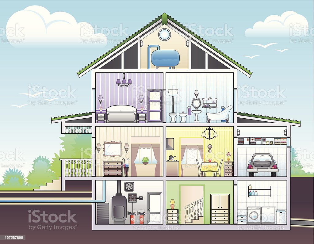 Illustration showing cutaway of house vector art illustration