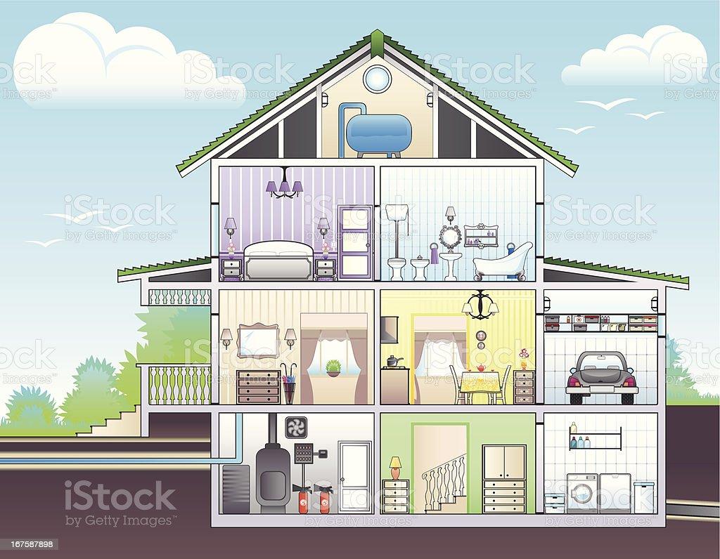 Illustration showing cutaway of house vector art illustration