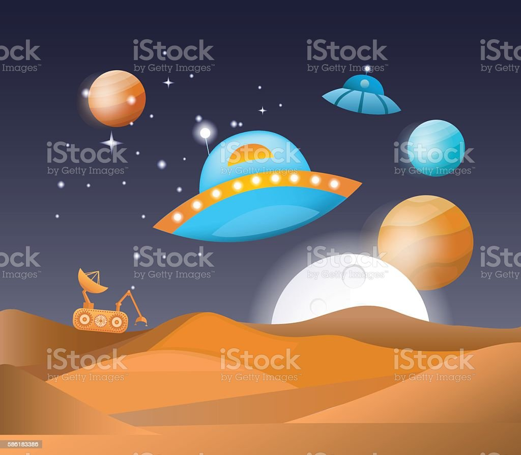 Illustration space landscape vector art illustration