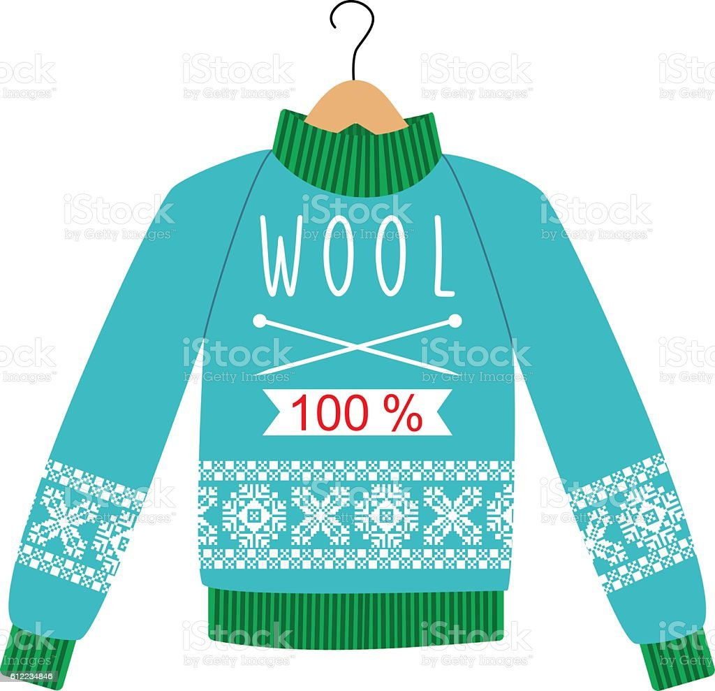 illustration sweater with a pattern on a hanger. vector art illustration