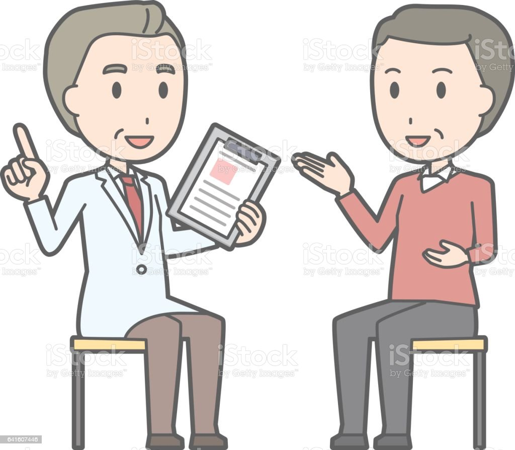 Illustration that a middle-aged man consults with a doctor vector art illustration