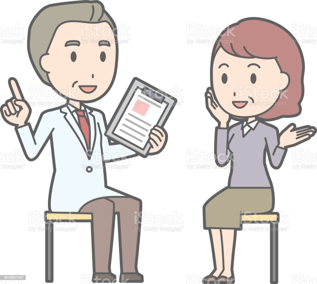 Illustration that a middle-aged woman is consulting a doctor vector art illustration