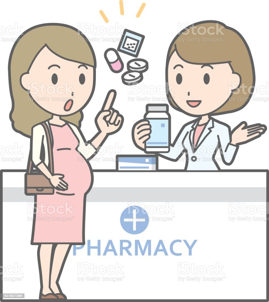Illustration that a young pregnant woman consults a female pharmacist vector art illustration