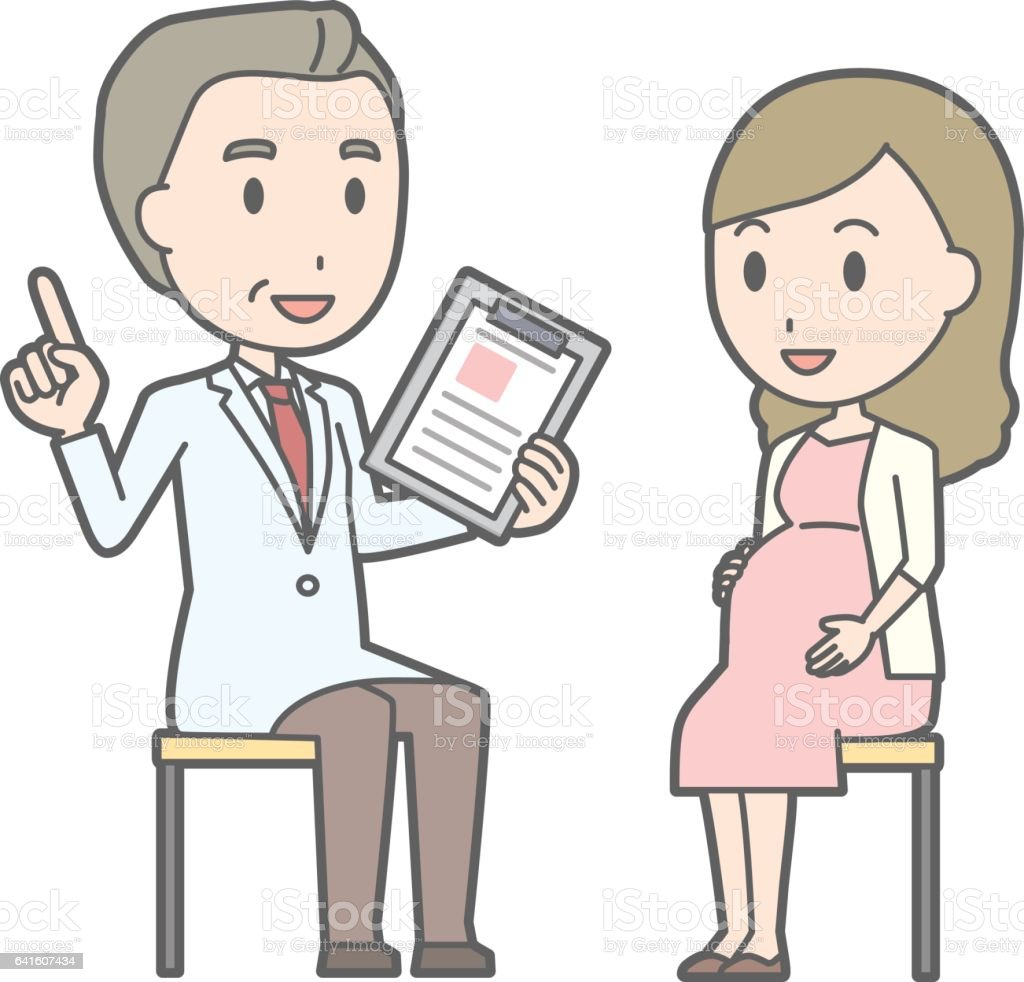 Illustration that a young pregnant women consults a doctor vector art illustration