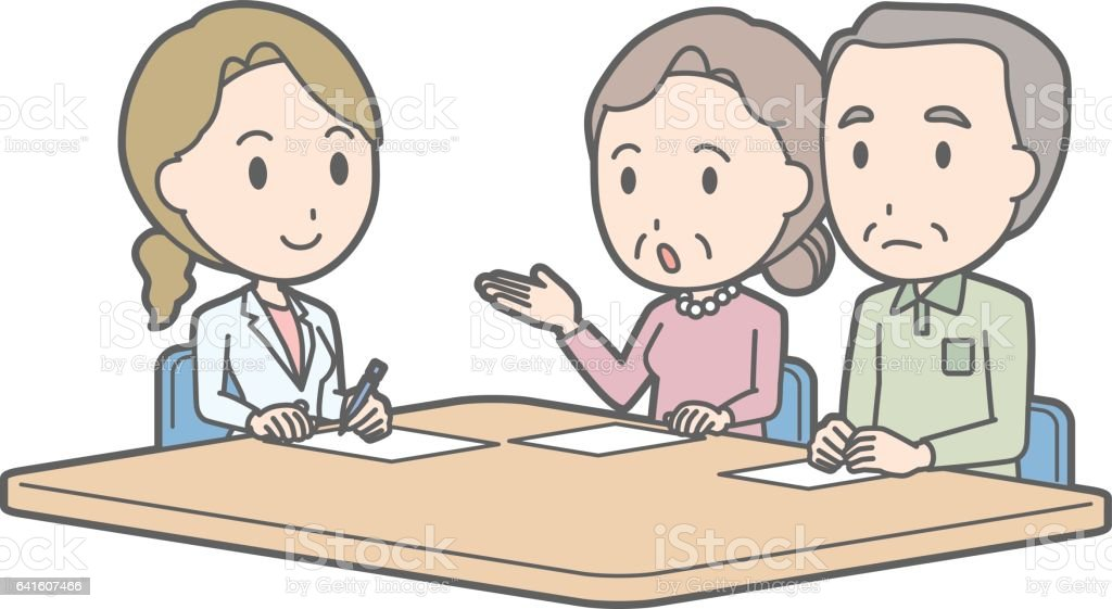 Illustration that an elderly couple receiving counseling by a female doctor vector art illustration