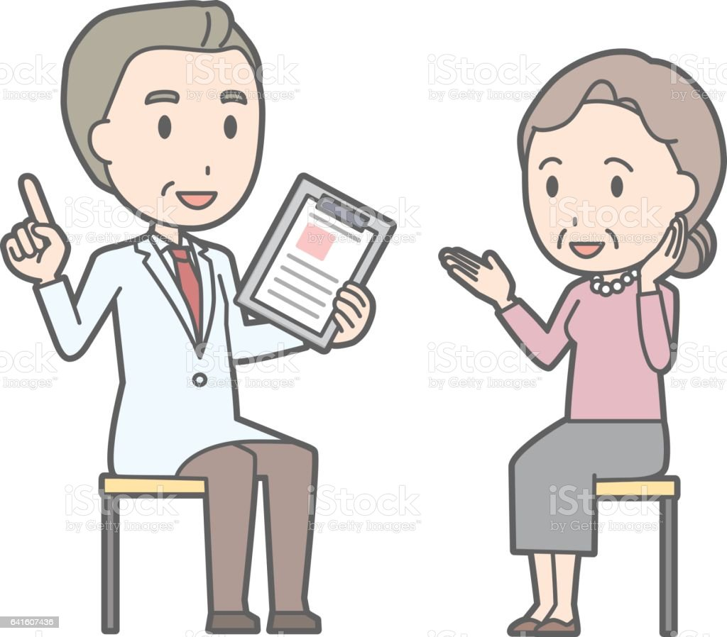 Illustration that an old woman consults a doctor vector art illustration