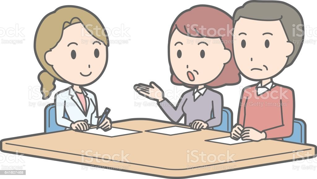 Illustration that middle-aged couple receiving counseling by a female doctor vector art illustration
