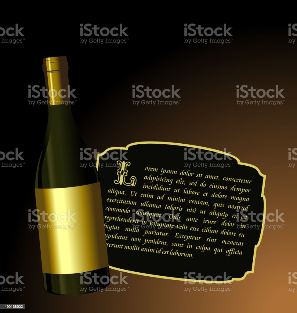 Illustration the elite wine bottle with white gold label vector art illustration