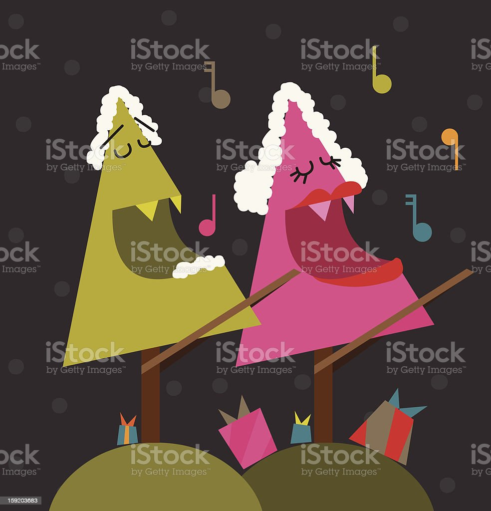 Illustration Tree Couple Singing Valentine's Day Song royalty-free stock vector art
