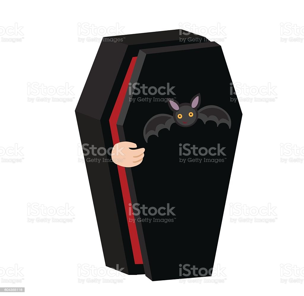 Illustration vampire coffin . Someone on the inside opens the lid. vector art illustration