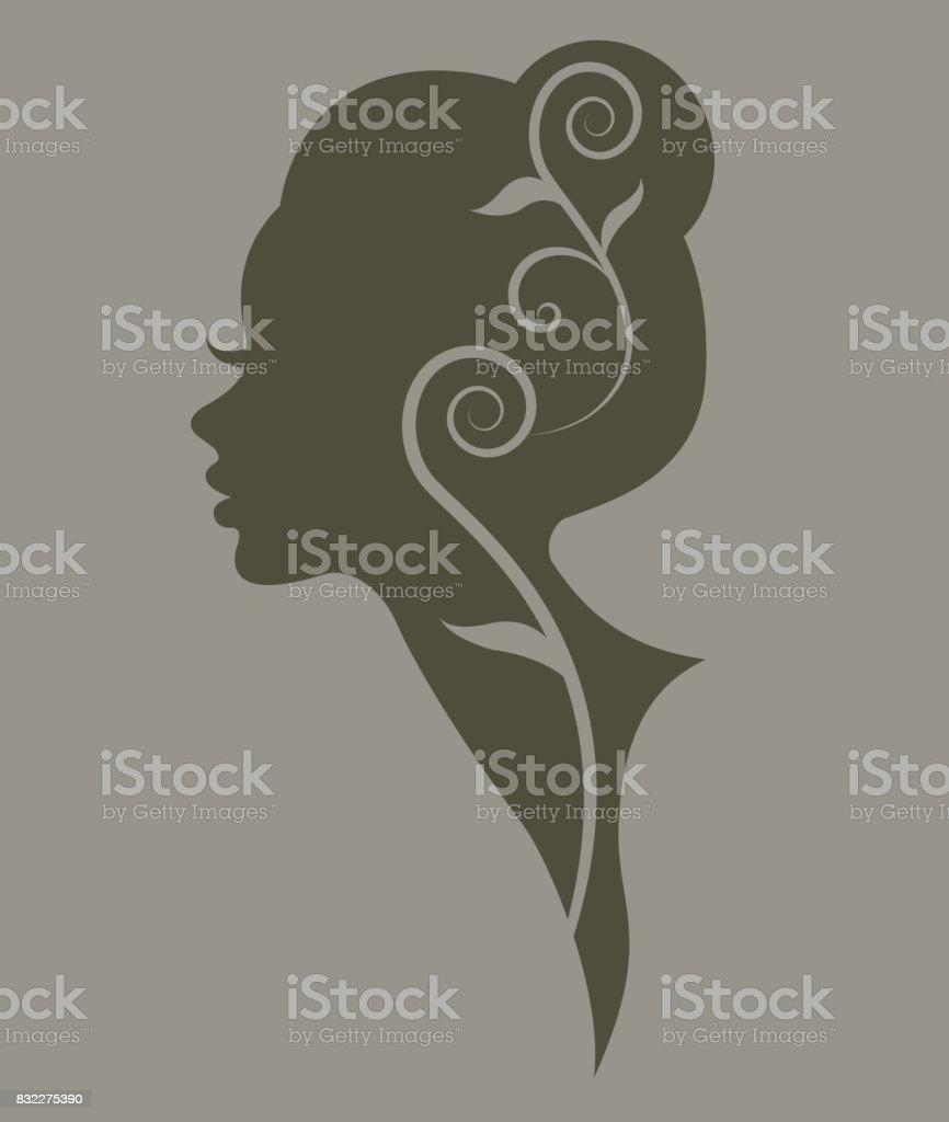 illustration vector of women silhouette green icon vector art illustration