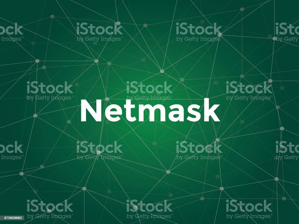 illustration white text on green background for netmask on networking vector art illustration