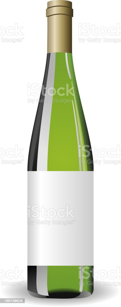 Illustration white wine bottle with label vector art illustration