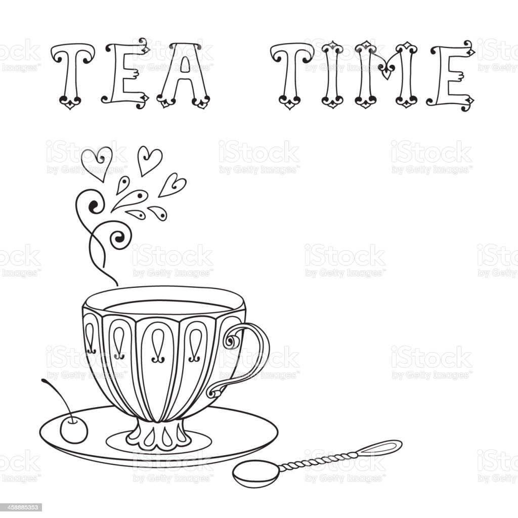 Illustration with a cup of tea and an inscription. vector art illustration
