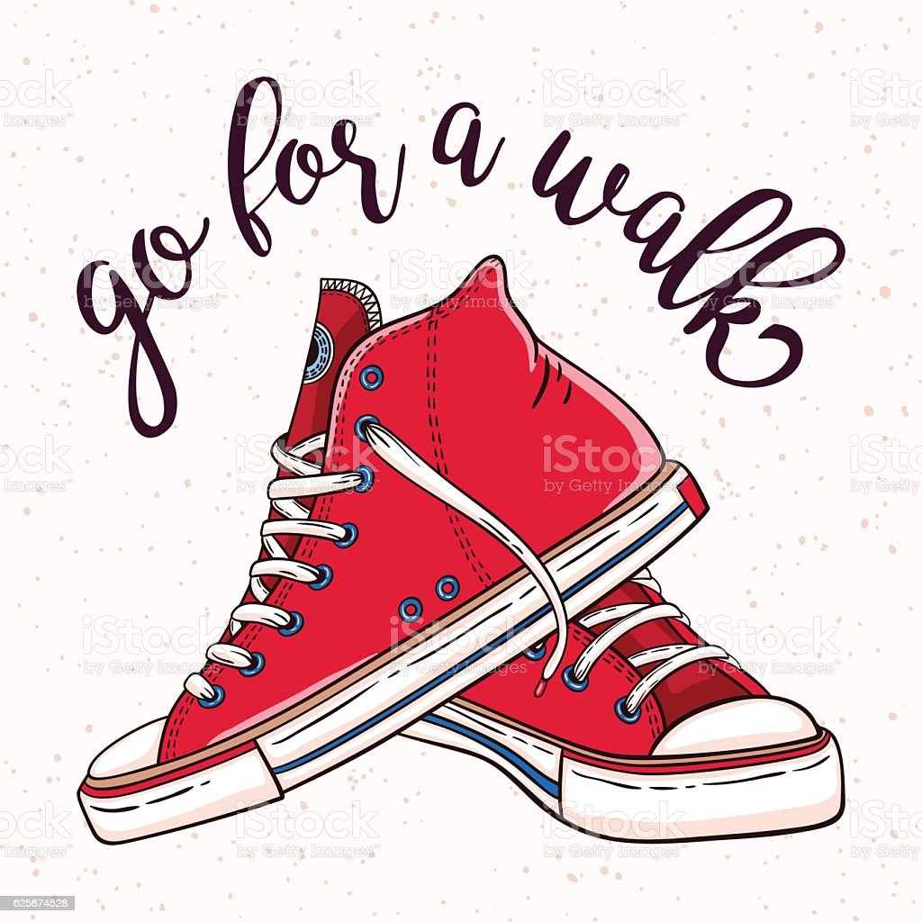 Illustration with a pair of vintage red sneakers vector art illustration