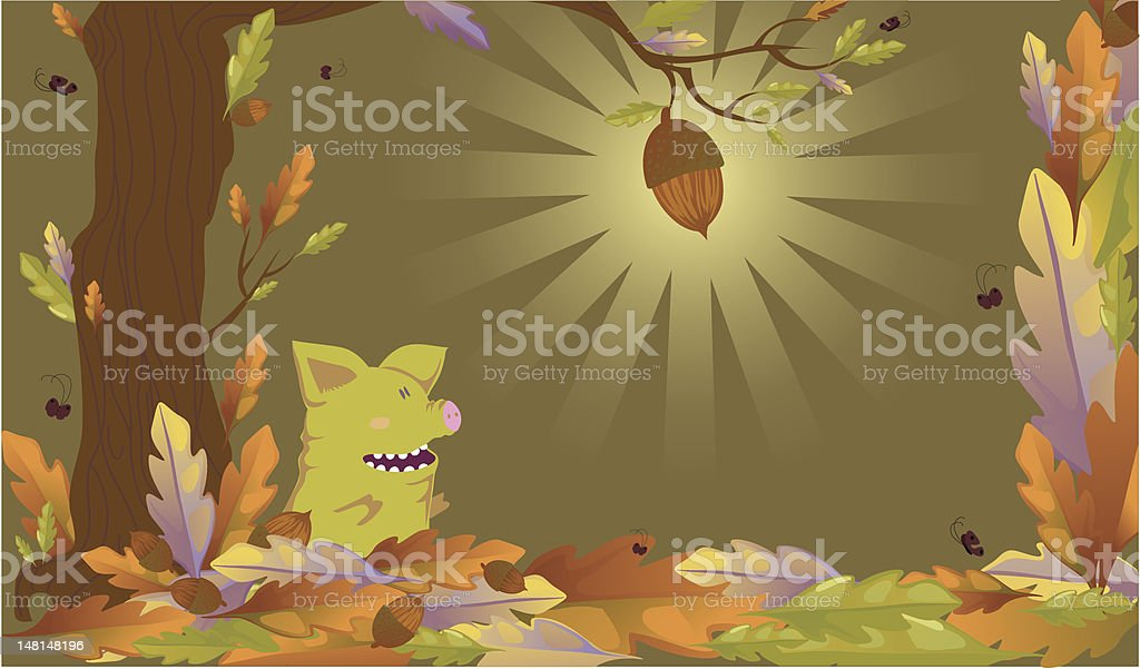illustration with a piglet royalty-free stock vector art