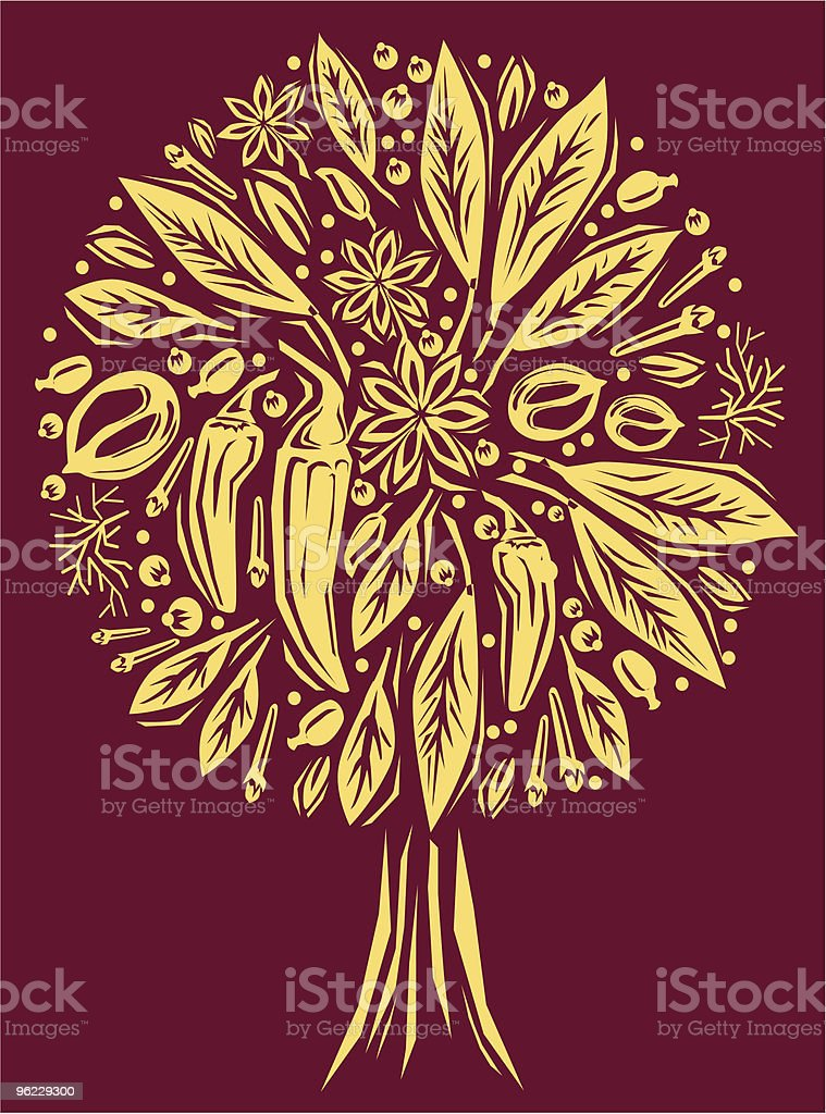Illustration with a spice of tree shape royalty-free stock vector art