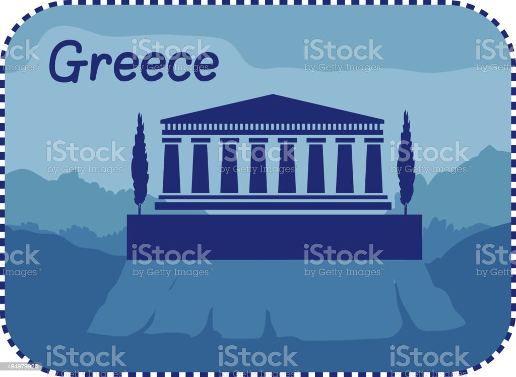 Illustration with acropolis of Athens in Greece vector art illustration
