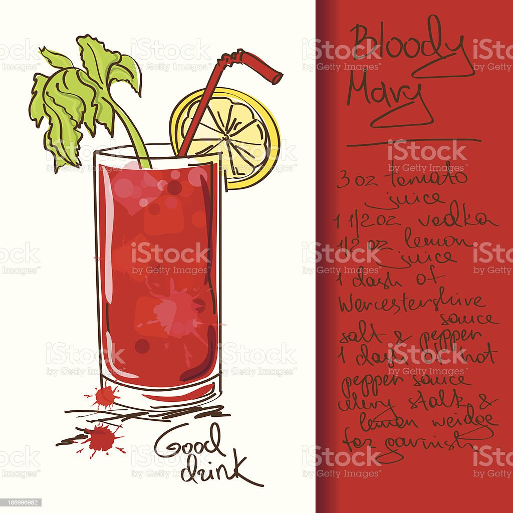 Illustration with Bloody Mary cocktail vector art illustration