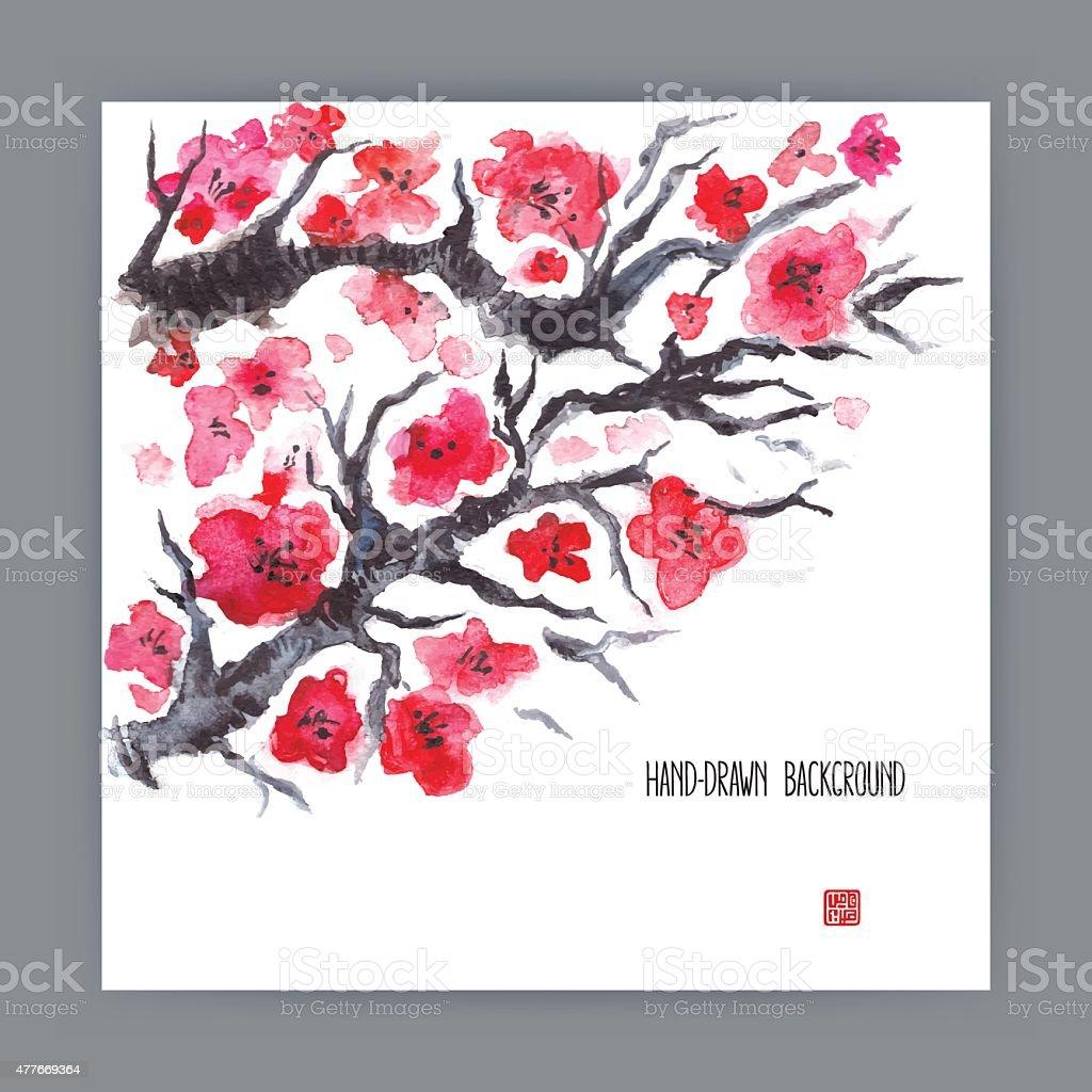 illustration with blooming sakura vector art illustration