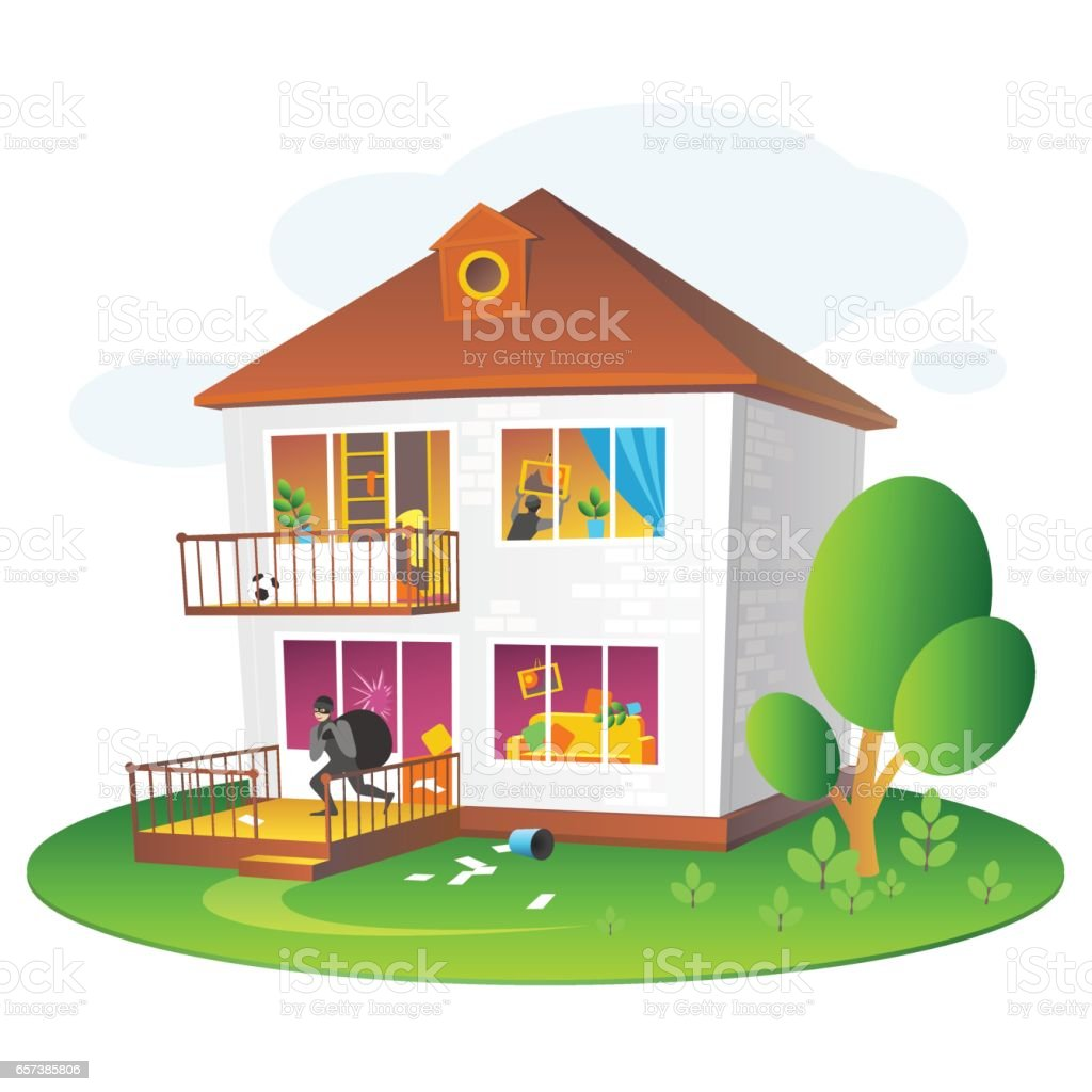 Illustration with burglary of a dwelling for companies insuring the property vector art illustration