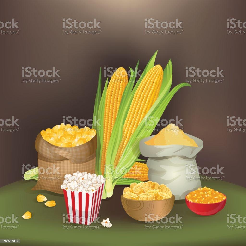 Illustration with corn foodstuff vector art illustration