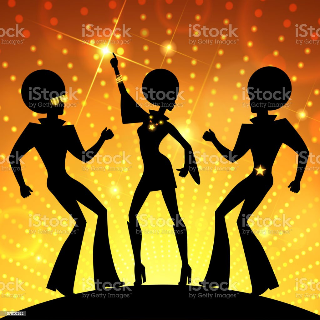 Illustration with dancing people on gold disco lights background vector art illustration