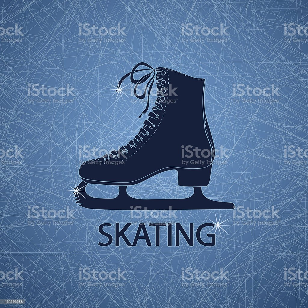 Illustration with figure skate vector art illustration