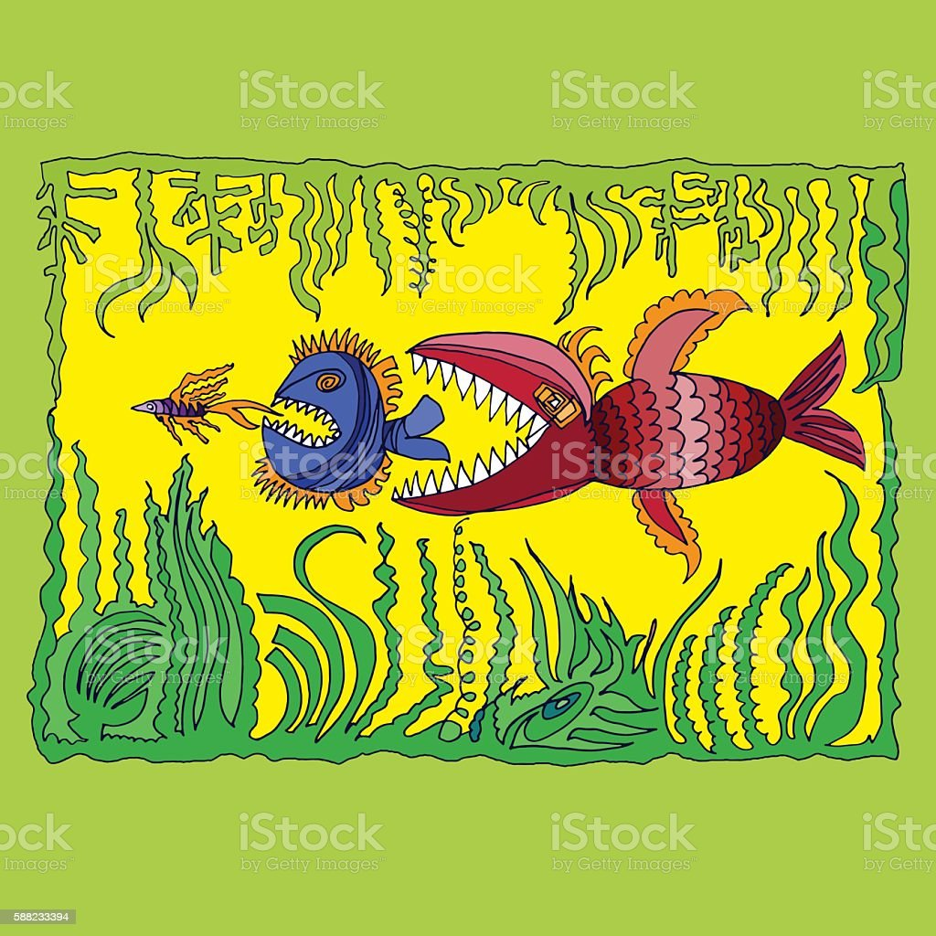 illustration with fish vector art illustration