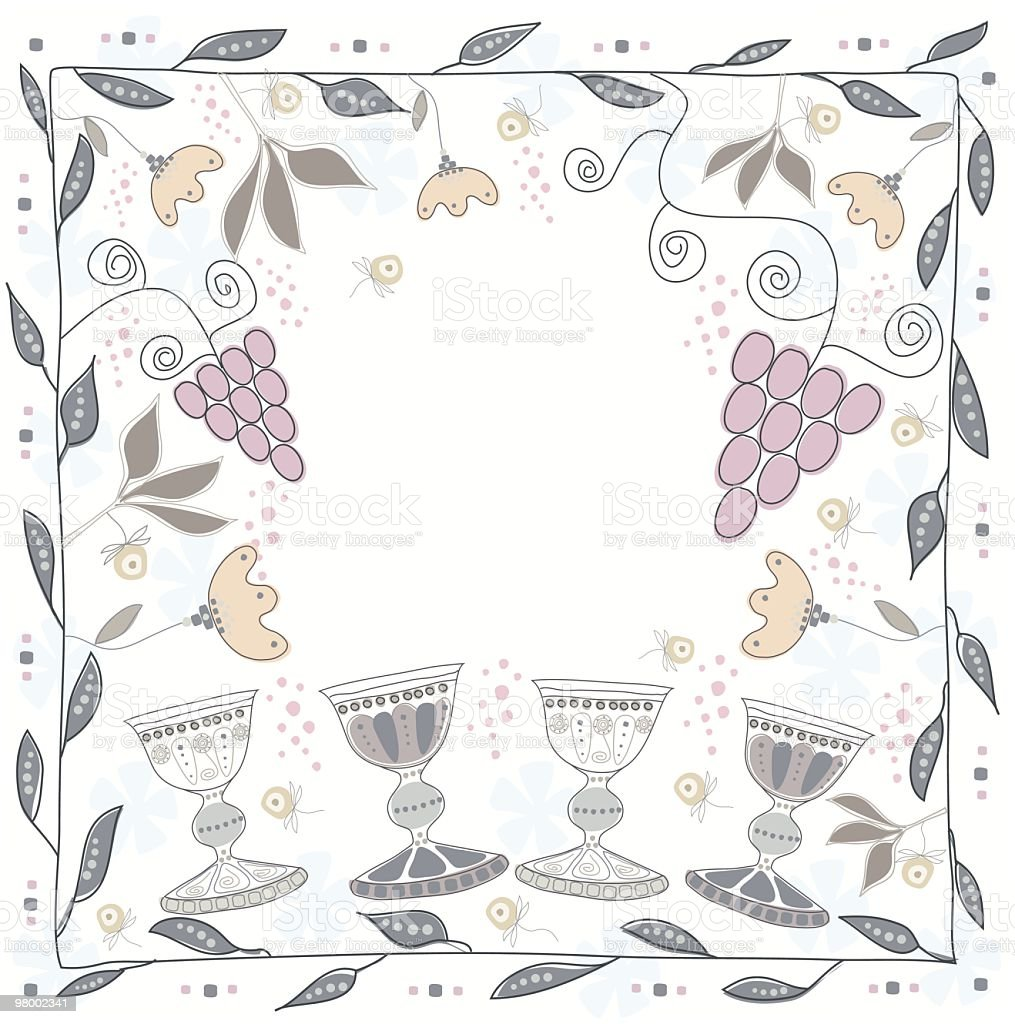 Illustration With Flowers, Silver Cups And Vine vector art illustration