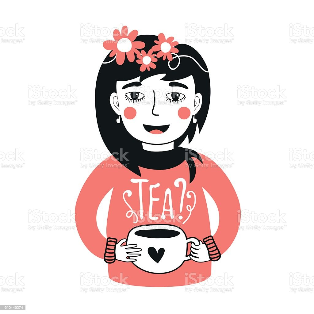 Illustration with girl holding cup of tea vector art illustration