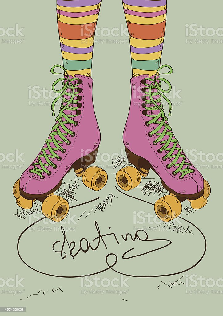 Illustration with girl's legs and retro roller skates royalty-free stock vector art