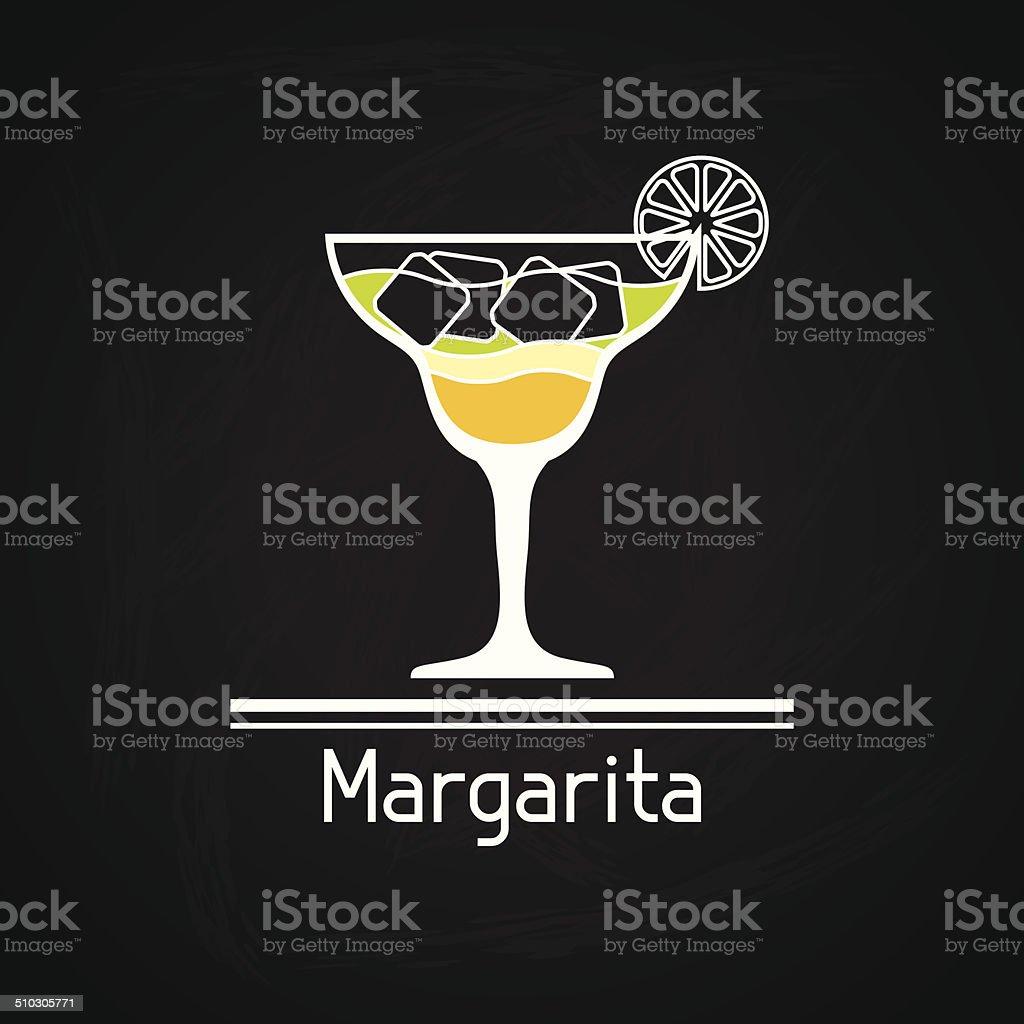 Illustration with glass of margarita for menu cover. vector art illustration