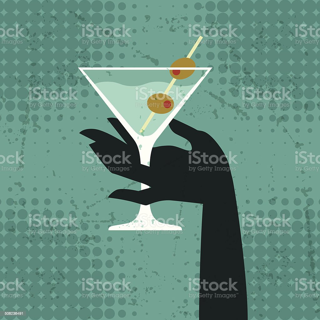 Illustration with glass of martini and hand. vector art illustration