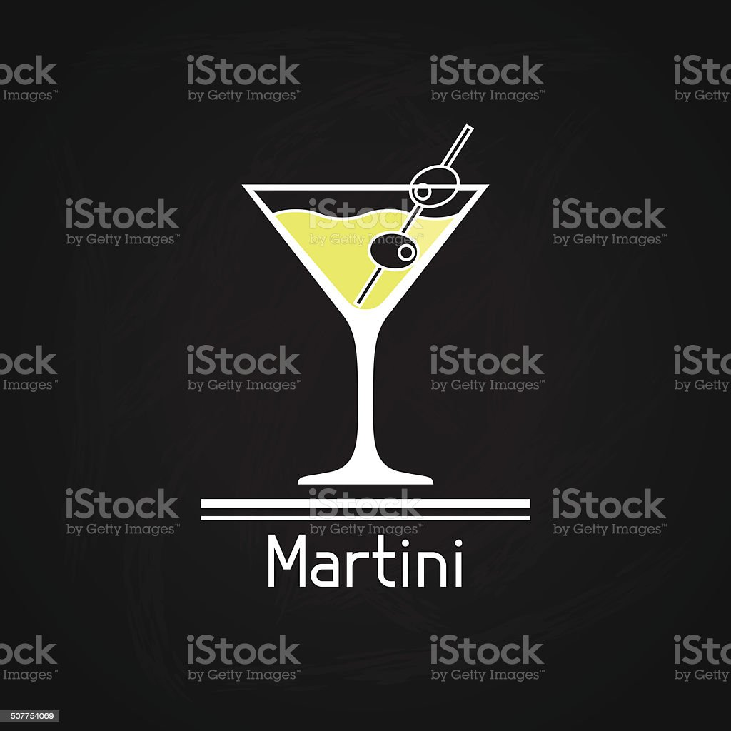 Illustration with glass of martini for menu cover. vector art illustration