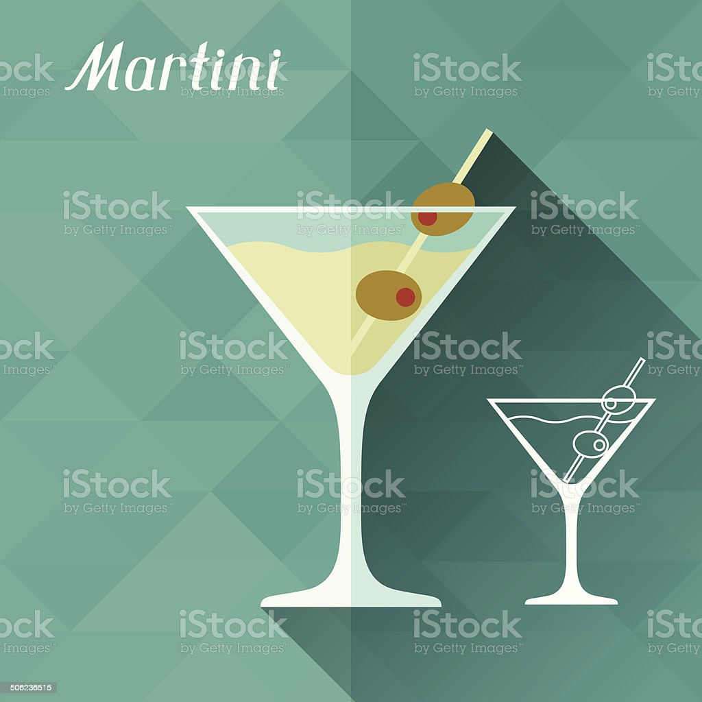 Illustration with glass of martini in flat design style. vector art illustration