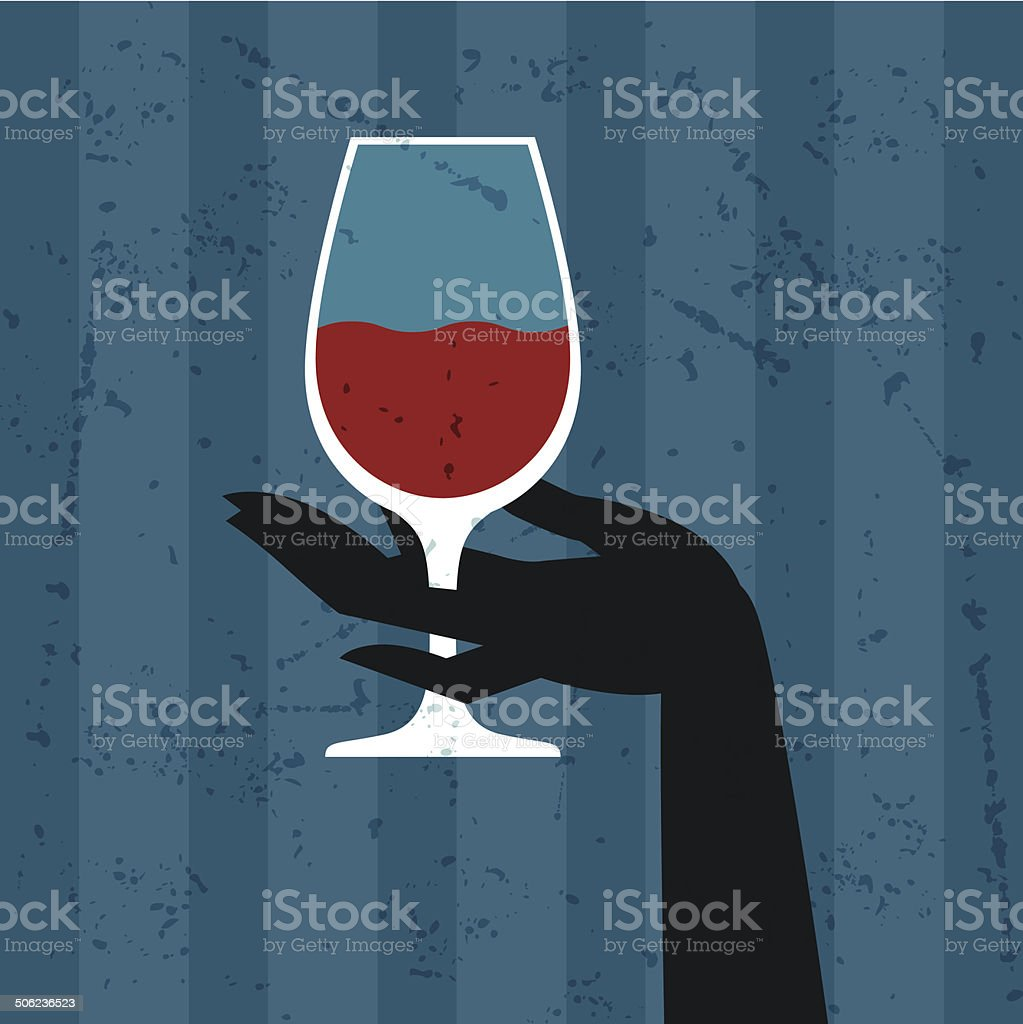 Illustration with glass of wine and hand. stock photo