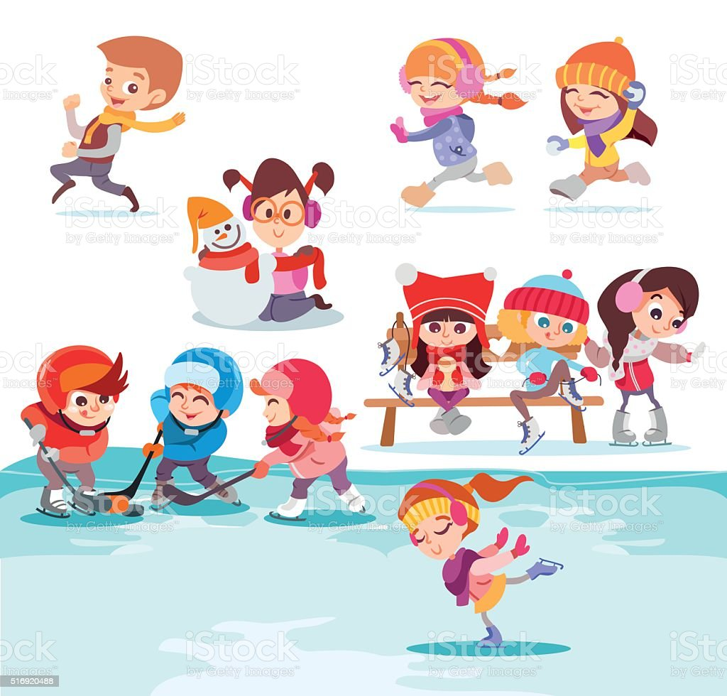 Illustration with groups of cute kids playing in winter park. vector art illustration